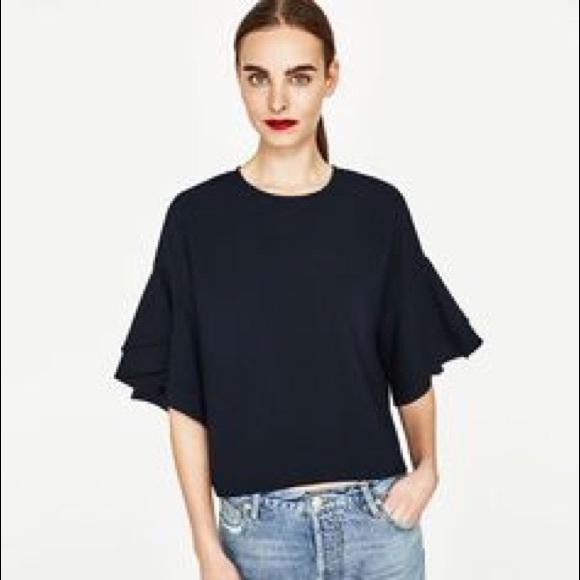 66a6fe0b006fb Zara Black Ruffle Sleeve Top. M 5a4af4e7a4c485aa2806ed56